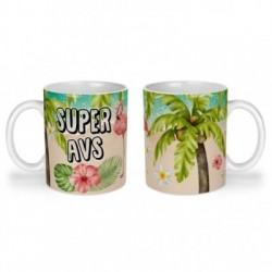 Mug, tasse en céramique, super avs, flamant rose, tropical, exotique, plage, été, cadeaux, plaisir d'offrir