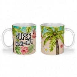 Mug, tasse en céramique, super belle-fille, flamant rose, tropical, exotique, plage, été, cadeaux, plaisir d'offrir