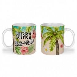 Mug, tasse en céramique, super belle-soeur, flamant rose, tropical, exotique, plage, été, cadeaux, plaisir d'offrir
