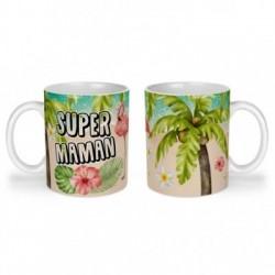 Mug, tasse en céramique, super maman, flamant rose, tropical, exotique, plage, été, cadeaux, plaisir d'offrir