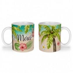 Mug, tasse en céramique, merci, flamant rose, tropical, exotique, plage, été, cadeaux, plaisir d'offrir