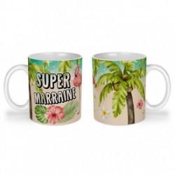 Mug, tasse en céramique, super marraine, flamant rose, tropical, exotique, plage, été, cadeaux, plaisir d'offrir