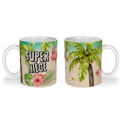 Mug, tasse en céramique, super nièce, flamant rose, tropical, exotique, plage, été, cadeaux, plaisir d'offrir