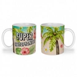 Mug, tasse en céramique, super orthophoniste, flamant rose, tropical, exotique, plage, été, cadeaux, plaisir d'offrir