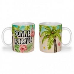 Mug, tasse en céramique, bonne retraite, flamant rose, tropical, exotique, plage, été, cadeaux, plaisir d'offrir