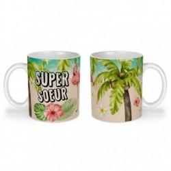 Mug, tasse en céramique, super soeur, flamant rose, tropical, exotique, plage, été, cadeaux, plaisir d'offrir
