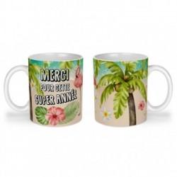 Mug, tasse en céramique, merci pour cette super année, flamant rose, tropical, exotique, plage, été, cadeaux, plaisir d'offrir