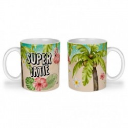 Mug, tasse en céramique, super tatie, flamant rose, tropical, exotique, plage, été, cadeaux, plaisir d'offrir