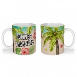 Mug, tasse en céramique, bonnes vacances, flamant rose, tropical, exotique, plage, été, cadeaux, plaisir d'offrir