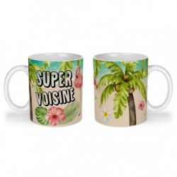 Mug, tasse en céramique, super voisine, flamant rose, tropical, exotique, plage, été, cadeaux, plaisir d'offrir