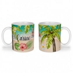 Mug, tasse en céramique, prénom à personnaliser, flamant rose, été, plage, tropical, exotique, cadeaux, plaisir d'offrir