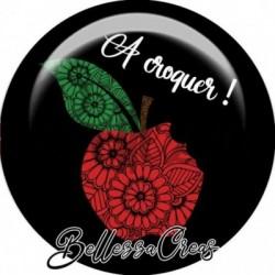 Cabochon verre, cabochon resine, à croquer, pomme, nature, fruit