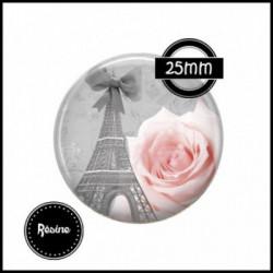 1 CABOCHON  résine Cabochons Rond 25mm  Ref 918 Paris ,rose,fleurs,fleurs gris et rose, textes,écritures