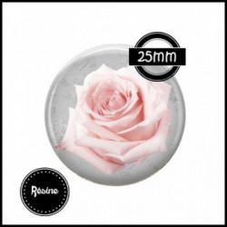 1 CABOCHON  résine Cabochons Rond 25mm  Ref 917 Paris ,rose,fleurs,fleurs gris et rose, textes,écritures