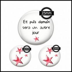 Parure 25MM-20mm VERRE, 3 Cabochons  en verre  Ref 7580-93Etoiles,citation ,amour,images cabochons,bijoux en verre