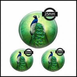 Parure 25MM-20mm VERRE, 3 Cabochons  en verre  Ref 7545Paon,plume de paon,images cabochons,bijoux en verre