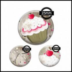 Parure 25MM-20mm VERRE, 3 Cabochons  en verre  Ref 7512-13-14Cupcake,flot,cerise,gourmandise,love,cadeau,offrir