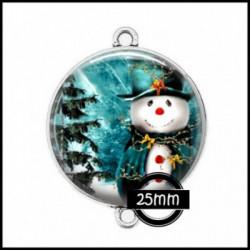 Connecteur 25mm VERRE, Cabochons  en verre  Ref 86 Bonhomme de neige, noel, fetes, animaux, bonnet de noel, père noel