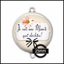 Connecteur 25mm VERRE, Cabochons  en verre  Ref 21 Mamie, love, flots, noeud