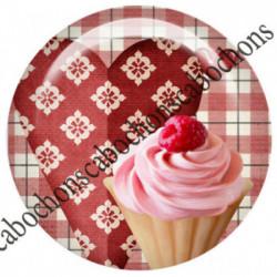 1 CABOCHON  résine Cabochons Rond 25mm  Ref 7186Patissière,cuisine,vichy,gourmandise,gateaux,cupcake,rétro,vintage,romantique   textes,écritures