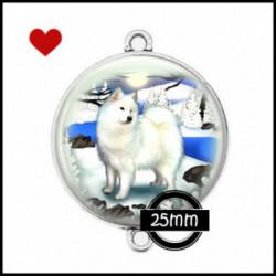 Connecteur 25mm VERRE, Cabochons  en verre  Ref 0021Samoyède,chien blanc,chiens des neiges,hiver,froid,coup de coeur,pour ma p'tite Laiky