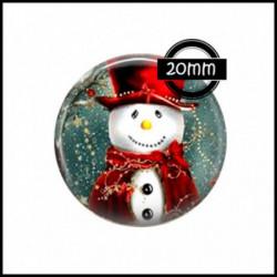 20mm VERRE, 1 Cabochons  en verre  Ref 0014Bonhomme de neige,Noel,flocon,neige,hiver,bleu,blanc,froid,fetes