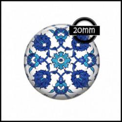 20mm VERRE, 1 Cabochons  en verre  Ref 0009Tribal,bohème,mandala,bleu,blanc,boho