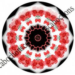 1 CABOCHON  résine Cabochons Rond 25mm  Ref 6543MANDALAS,kaleidoscope,rouge et noir,shabby chic   textes,écritures