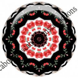 1 CABOCHON  résine Cabochons Rond 25mm  Ref 6542MANDALAS,kaleidoscope,rouge et noir,shabby chic   textes,écritures