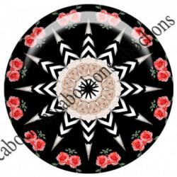 1 CABOCHON  résine Cabochons Rond 25mm  Ref 6541MANDALAS,kaleidoscope,rouge et noir,shabby chic   textes,écritures