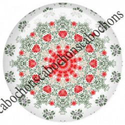 1 CABOCHON  résine Cabochons Rond 25mm  Ref 6540MANDALAS,kaleidoscope,rouge et noir,shabby chic   textes,écritures