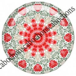 1 CABOCHON  résine Cabochons Rond 25mm  Ref 6539MANDALAS,kaleidoscope,rouge et noir,shabby chic   textes,écritures