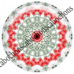 1 CABOCHON  résine Cabochons Rond 25mm  Ref 6538MANDALAS,kaleidoscope,rouge et noir,shabby chic   textes,écritures