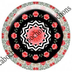 1 CABOCHON  résine Cabochons Rond 25mm  Ref 6537MANDALAS,kaleidoscope,rouge et noir,shabby chic   textes,écritures