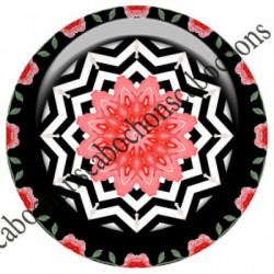1 CABOCHON  résine Cabochons Rond 25mm  Ref 6536MANDALAS,kaleidoscope,rouge et noir,shabby chic   textes,écritures