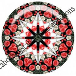 1 CABOCHON  résine Cabochons Rond 25mm  Ref 6535MANDALAS,kaleidoscope,rouge et noir,shabby chic   textes,écritures