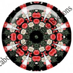 1 CABOCHON  résine Cabochons Rond 25mm  Ref 6534MANDALAS,kaleidoscope,rouge et noir,shabby chic   textes,écritures