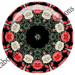 1 CABOCHON  résine Cabochons Rond 25mm  Ref 6533MANDALAS,kaleidoscope,rouge et noir,shabby chic   textes,écritures