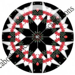 1 CABOCHON  résine Cabochons Rond 25mm  Ref 6532MANDALAS,kaleidoscope,rouge et noir,shabby chic   textes,écritures