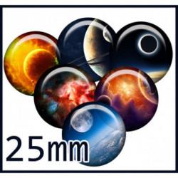 6 CABOCHONS  résines Cabochons Rond 25mm Ref:74Parure espace,ciel,planète,Thème illustration,image,digitale,   textes,écritures