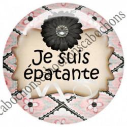 1 CABOCHON  résine Cabochons Rond 25mm  Ref 5993 épatante,fleur,flot,strass    textes,écritures