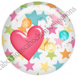 1 CABOCHON  résine Cabochons Rond 25mm  Ref 5756  Tante,étoiles,fleur,flot,strass    textes,écritures